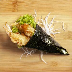 temaki con tempura di gamberi