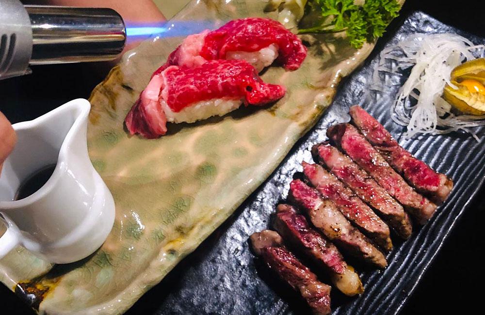 carne wagyu scottata su riso