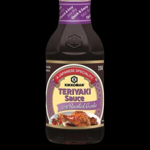 bottiglia con salsa Teriyaki kikkoman al gusto di aglio arrostito da 250 ml.