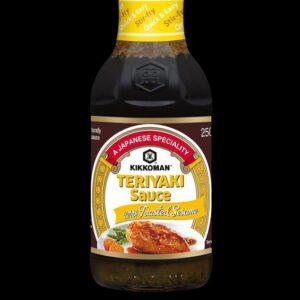 bottiglia di salsa Teriyaki kikkoman al gusto di sesamo arrostito da 250 ml